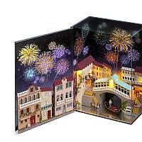 Кукольный дом конструктор в книге DIY Cute Room N-001 Венеция 3D Румбокс, фото 1