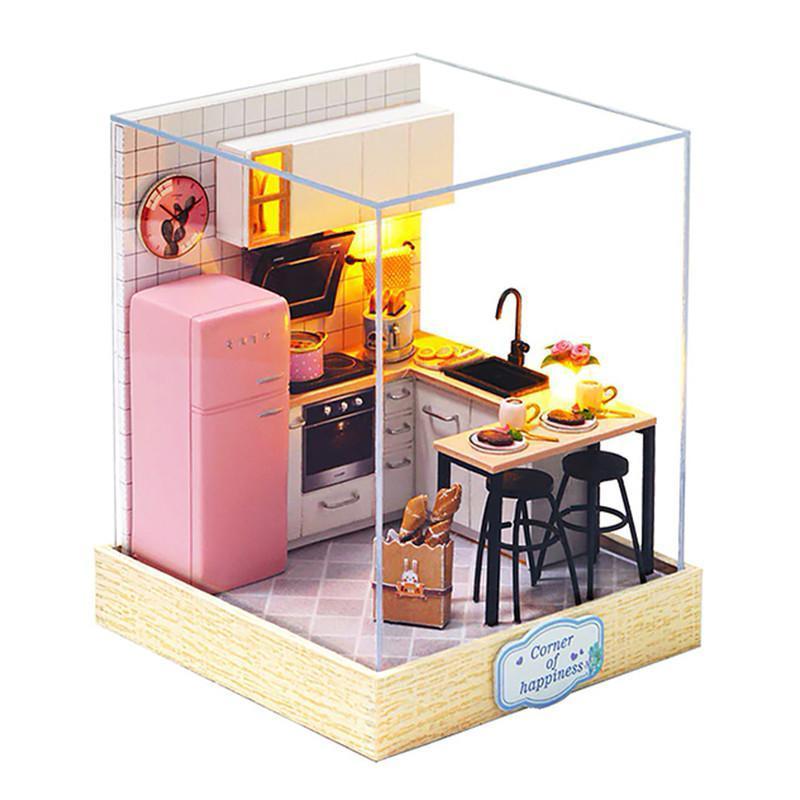 Кукольный дом конструктор DIY Cute Room BT-027 Кухня 23*23*27,5см 3D Румбокс