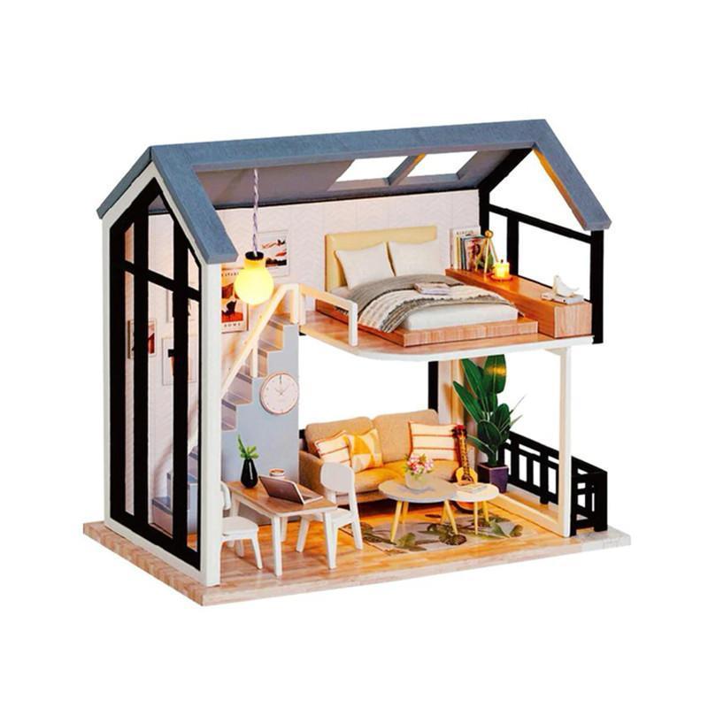 Кукольный дом конструктор DIY Cute Room QL-002-B Скандинавский Лофт 3D Румбокс