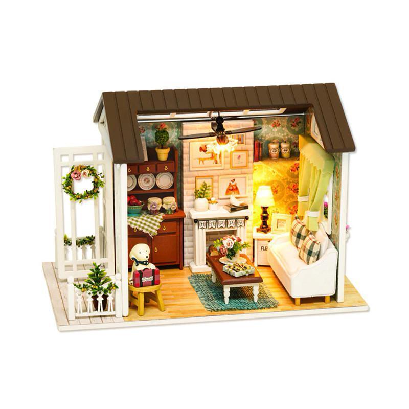 Ляльковий будинок конструктор DIY Cute Room 8008-D Вітальня з верандою та каміном 3D Румбокс