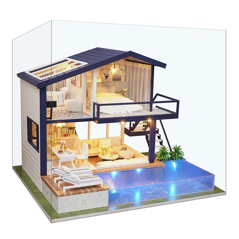 Ляльковий будинок конструктор DIY Cute Room A-066-B Вілла з басейном для дітей