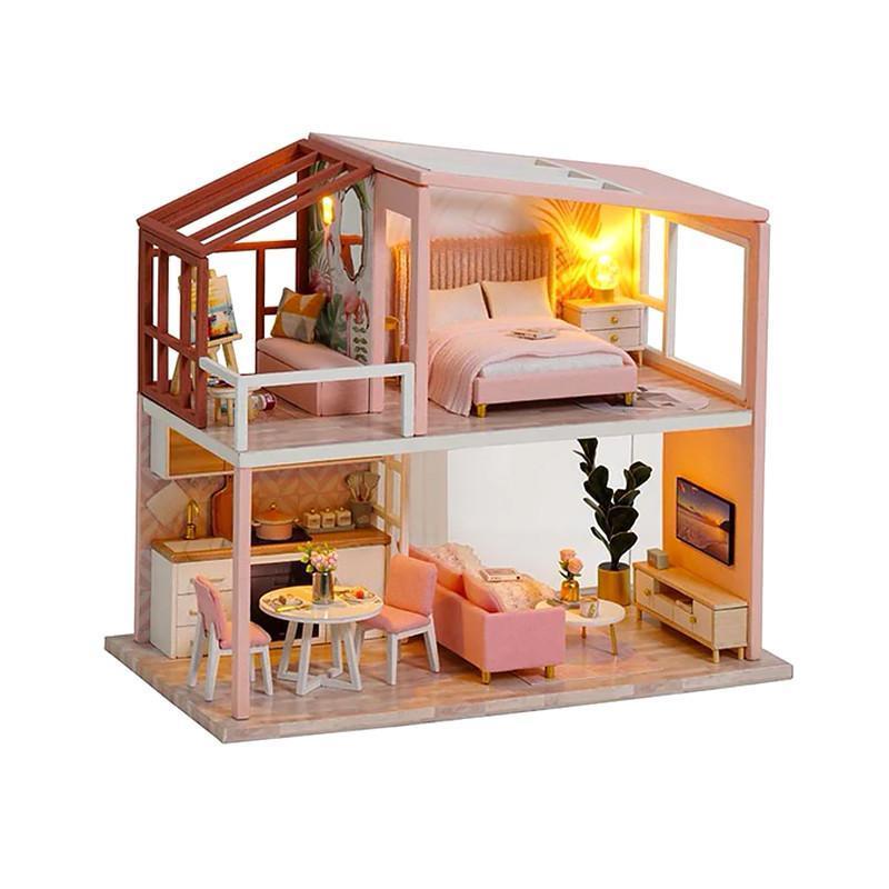 Кукольный дом конструктор DIY Cute Room QL-003-B Розовый Лофт 3D Румбокс