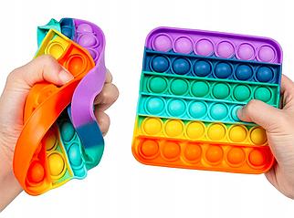Іграшка антистрес з кульками всередині Pop it для дітей (райдужний квадрат)