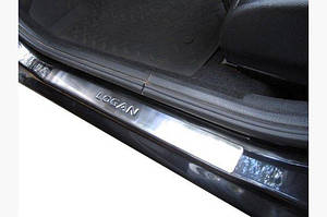 Накладки на пороги OmsaLine (4 шт, нерж.) - Dacia Logan I 2005-2008 гг.