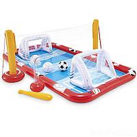 Бассейн надувной водный детский Игровой центр Спорт Intex Размеры- 325х267х102 см с воротами и сеткой
