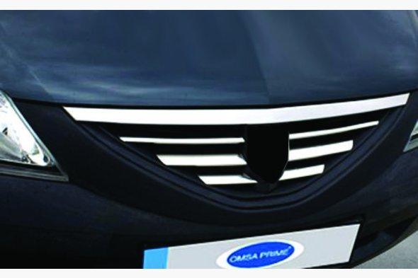 Накладки на решітку радіатора (нерж.) OmsaLine - Італійська нержавійка - Dacia Logan I 2005-2008 рр.