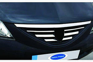 Накладки на решетку радиатора (нерж.) OmsaLine - Итальянская нержавейка - Dacia Logan I 2005-2008 гг.