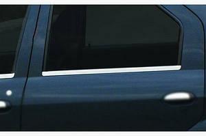 Окантовка окон (4 шт, нерж.) OmsaLine - Итальянская нержавейка - Dacia Logan I 2005-2008 гг.