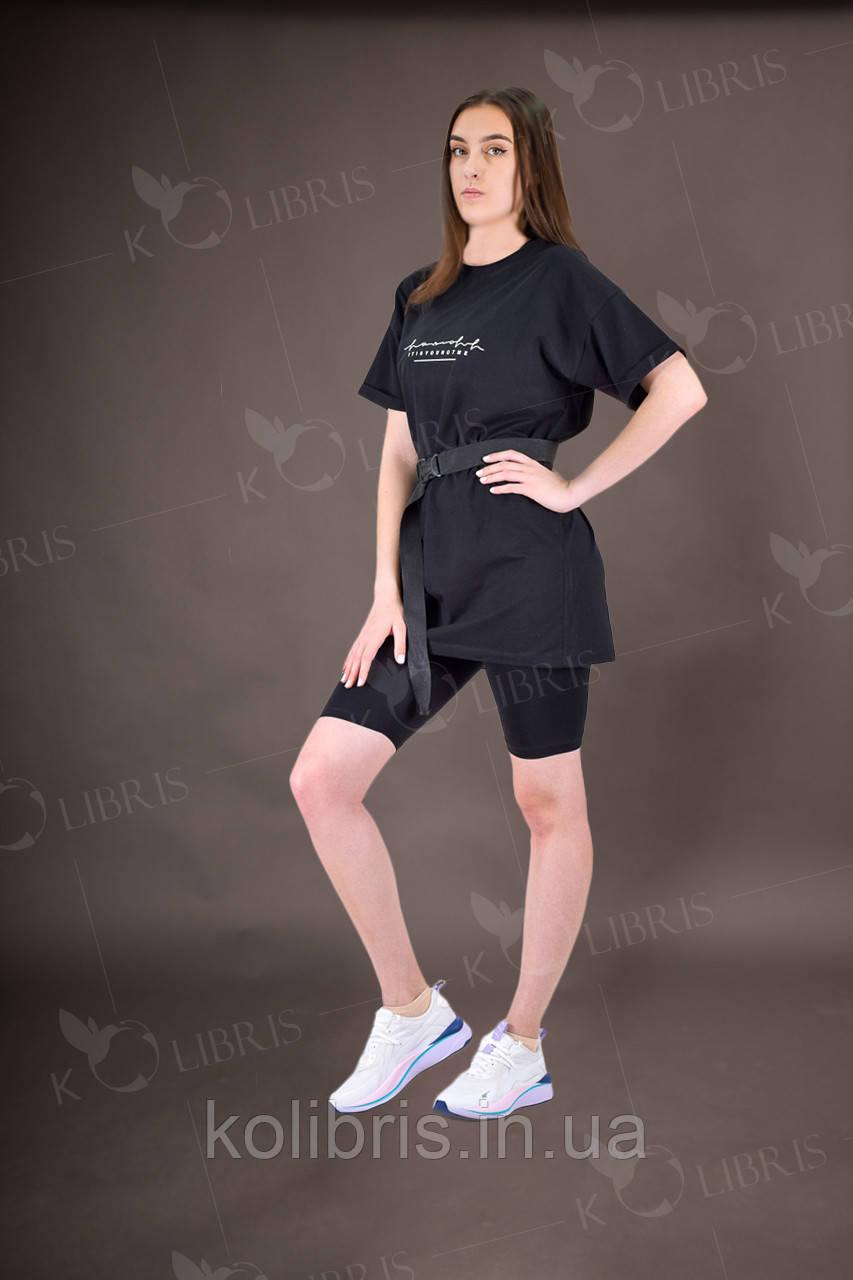 Комплект жіночий літній футболка і велосипедки чорного кольору