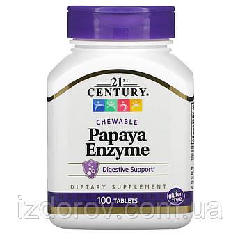 21st Century, Ферменты папайи, Papaya Enzyme, 100 жевательных таблеток