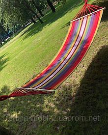 Мексиканський тканинний гамак з дерев'яною поперечиною 200см*80см в чохлі