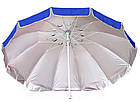 Зонт пляжний з срібним напиленням, діаметр 3,3 м., 12 товстих спиць, Синій, фото 4