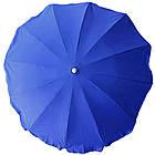 Зонт пляжний з срібним напиленням, діаметр 3,3 м., 12 товстих спиць, Синій, фото 2