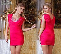 Платье для вечеринки со стразами в зоне декольте 2 цвета