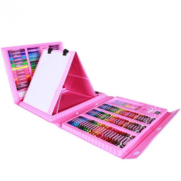 Опт Детский художественный набор с мольбертом для творчества и рисования в чемоданчике 208 предметов