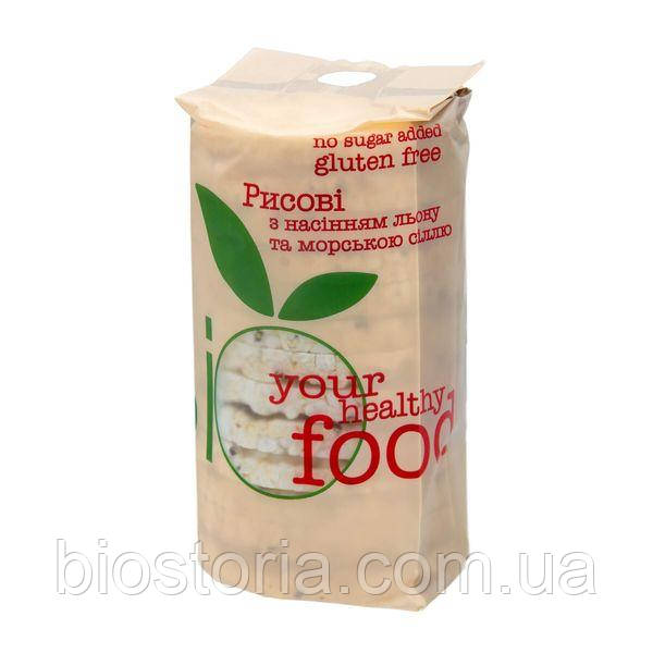 Хлібці рисові з насінням льону і морською сіллю 100г ТМ Bio Food
