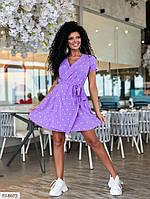 Легкое красивое женское платье на запах короткое мини с юбкой клеш р-ры 42-48 арт. 178