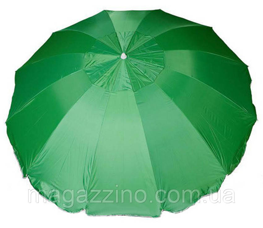 Зонт пляжний з клапаном і срібним напиленням, діаметр 3,3 м., 12 товстих спиць, Зелений