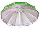 Зонт пляжний з клапаном і срібним напиленням, діаметр 3,3 м., 12 товстих спиць, Зелений, фото 2