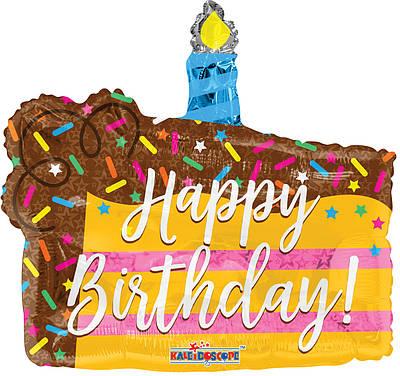 """К 14"""" Мини фигура Happy Birthday Cake Slice. Шар ольгированный кусочек торта С Днем рождения"""