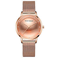 Часы женские Mini Focus 0332L Rose Gold брендовый женский аксессуар сетчатый ремень влагозащита