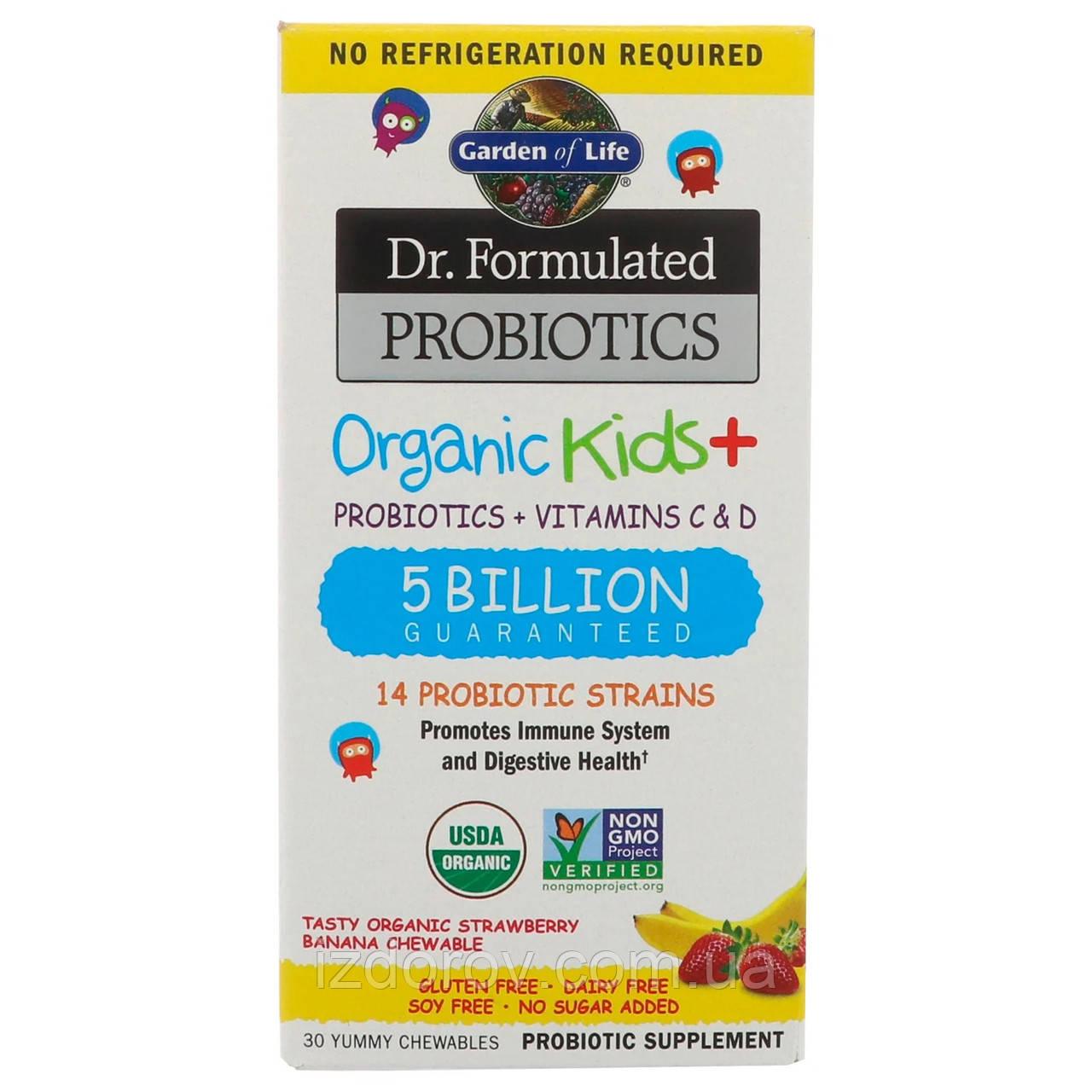 Garden of Life, Dr Formulated Probiotics, Органічні пробіотики для дітей, 30 жувальних таблеток
