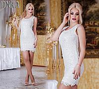 Платье про-во Турция из гипюра со стразами 3 цвета