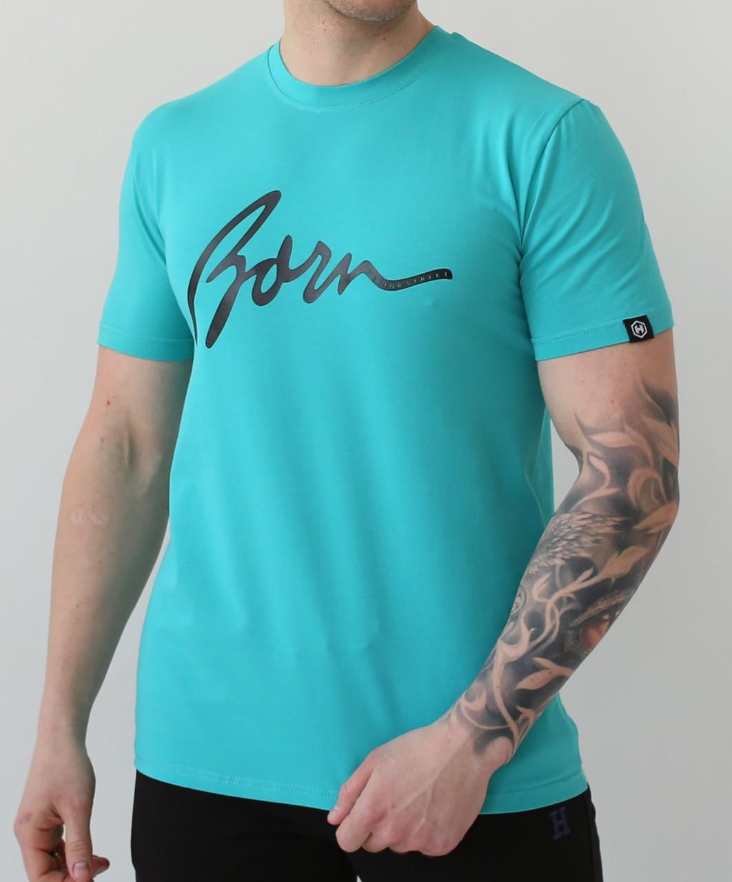 Мужская классическая голубая футболка Street Born с короткими рукавами и круглой горловиной весна-лето