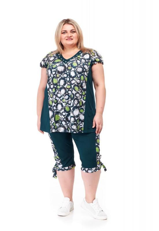 Летний женский брючный костюм большие размеры от 66  до 72