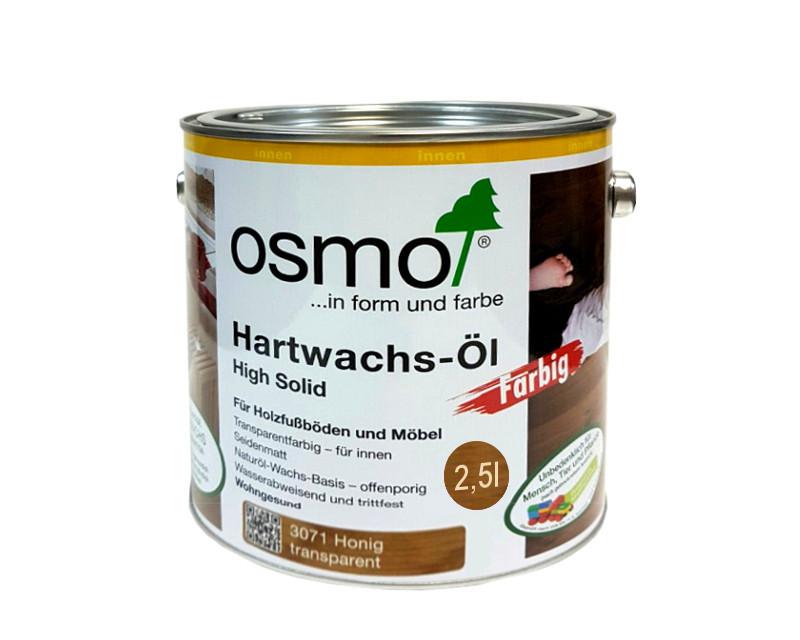 Масло с твердым воском OSMO HARDWACHS-OL FARBIG для пола и изделий из древесины 3071 - мед 2,5л