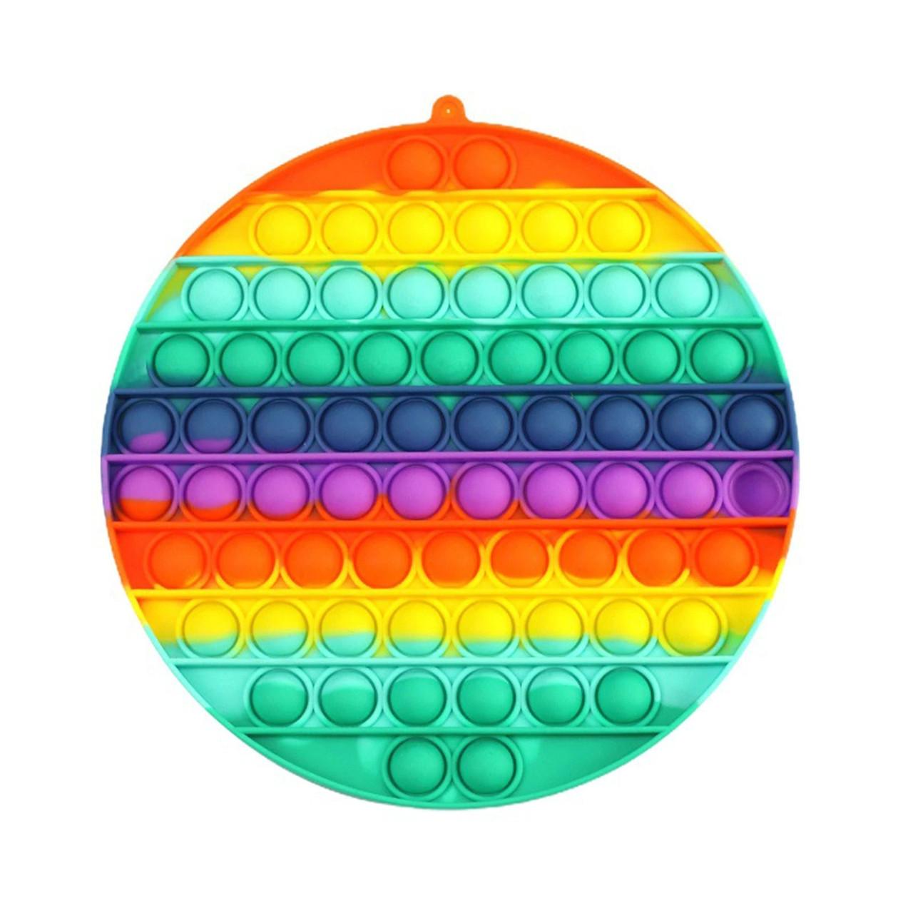 Сенсорная силиконовая игрушка пупырка антистресс поп ит фиджет круг большой радужный