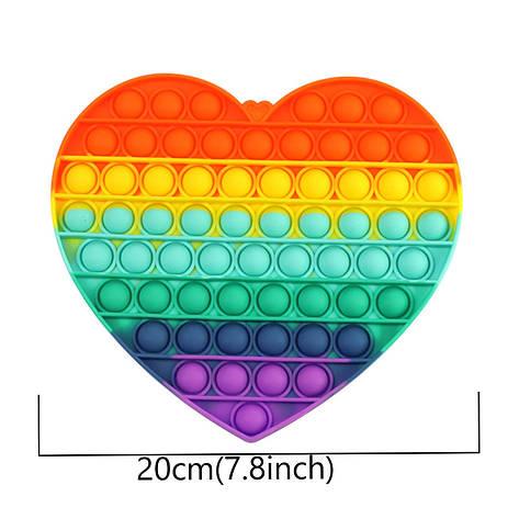 Сенсорна силіконова іграшка пупырка антистрес поп іт фиджет серце велике райдужне, фото 2