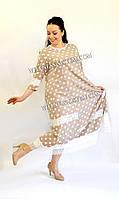 Платье большого размера  Горох (54-72) беж