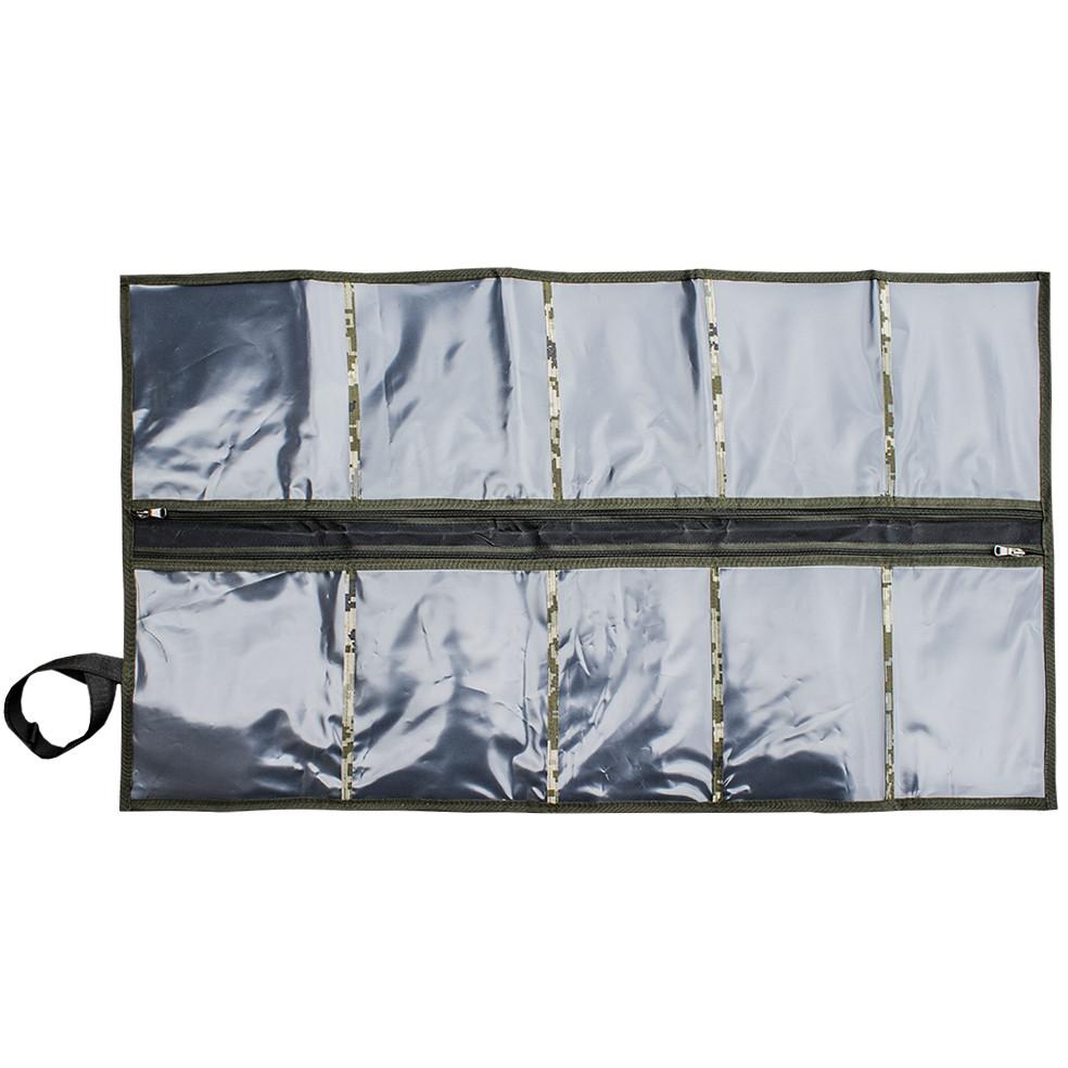 Несесер армійський зі змійкою,10 отд., військовий несесер-сумка, похідний дорожній органайзер розкладний, Піксель
