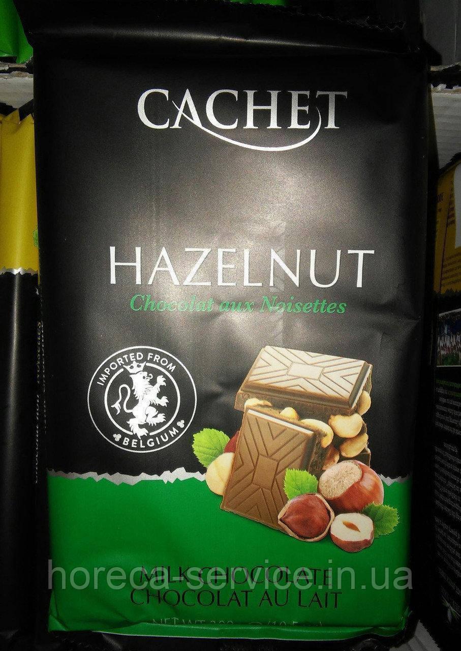 Бельгийский молочный шоколад Cachet лесной орех 32% какао 300 г.