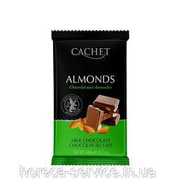 Бельгійський молочний шоколад Cachet з мигдалем 32% какао 300 г.