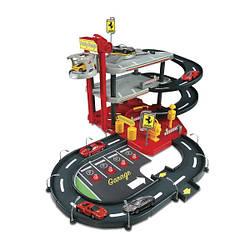 Детская игрушка Гараж для машинок FERRARI (3 уровня, 2 машинки 1:43), Bbburago