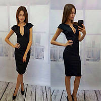 Черное женское платье французский трикотаж