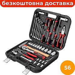Комбинированный набор инструментов 56 ед. INTERTOOL ET-8056, набор автослесарного инструмента для дома
