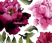 Набор виниловых наклеек Акварельные цветы Пионы фуксия M от 25 до 40 см виниловые наклейки декор матовая