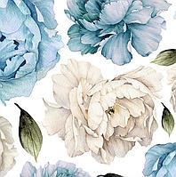 Набор виниловых мини наклеек Акварельные бело-голубые пионы от 10 до 20 см наклейки цветы матовая