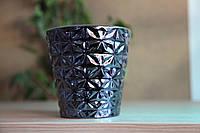 """Горшок керамический для цветов металлизированый глянцевый """"Космея"""" 0.8л Rezon"""