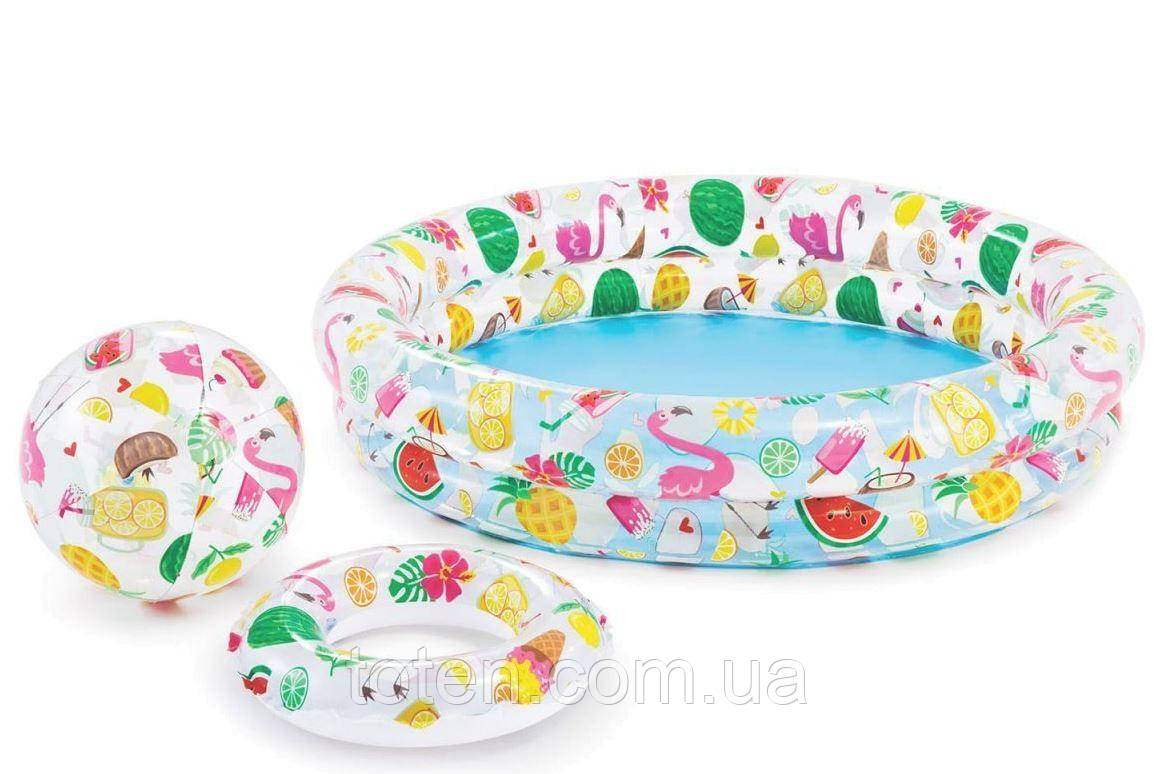 Надувний дитячий басейн Intex 59460, Фрукти з м'ячем і колом 112 х 25 см, 2 кільця