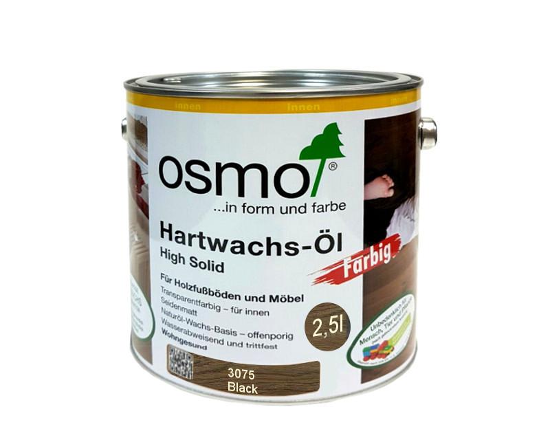 Масло с твердым воском OSMO HARDWACHS-OL FARBIG  для пола и изделий из древесины 3075 - черное 2,5л