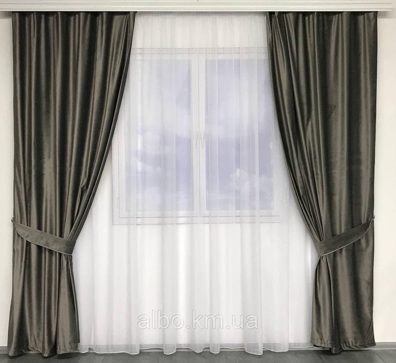 Готові оксамитові штори для залу спальні вітальні, штори і тюль в кімнату квартиру готель, штори з оксамиту в вітальню зал хол