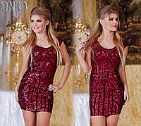 Красное короткое платье с паетками Турция Kikiriki