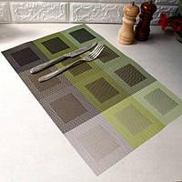 Салфетка на стол под тарелку, сет на стол HLS бронзово-зелёный 30х45см