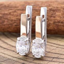 Серебряные серьги с золотом 415БС размер 17х5 мм вставка белые фианиты вес 3.2 г