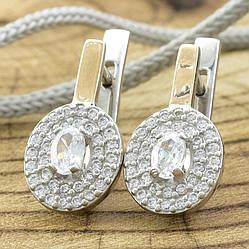 Серебряные серьги с золотом 752БС размер 18х8 мм вставка белые фианиты вес 2.6 г