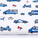 """Клапоть тканини """"Сині машинки Police"""", фон - білий, №2964, розмір 30*80 см, фото 2"""